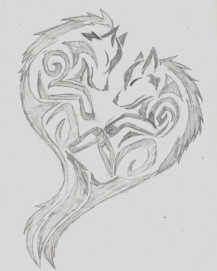 tribal heart wolf drawings - Google Search