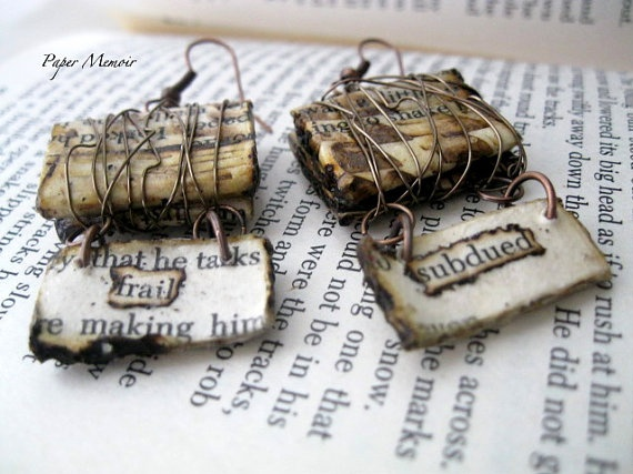 Paper Jewelry Wire Wrapped Earrings by PaperMemoirs on Etsy, $20.00