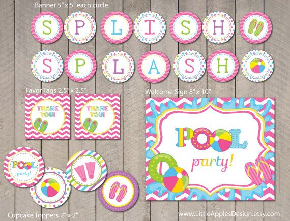 Pool Party / Kids Pool Party / Pool Birthday Printable / Pool Printable / Pool Party Printable / Pool Decoration by LittleApplesDesign