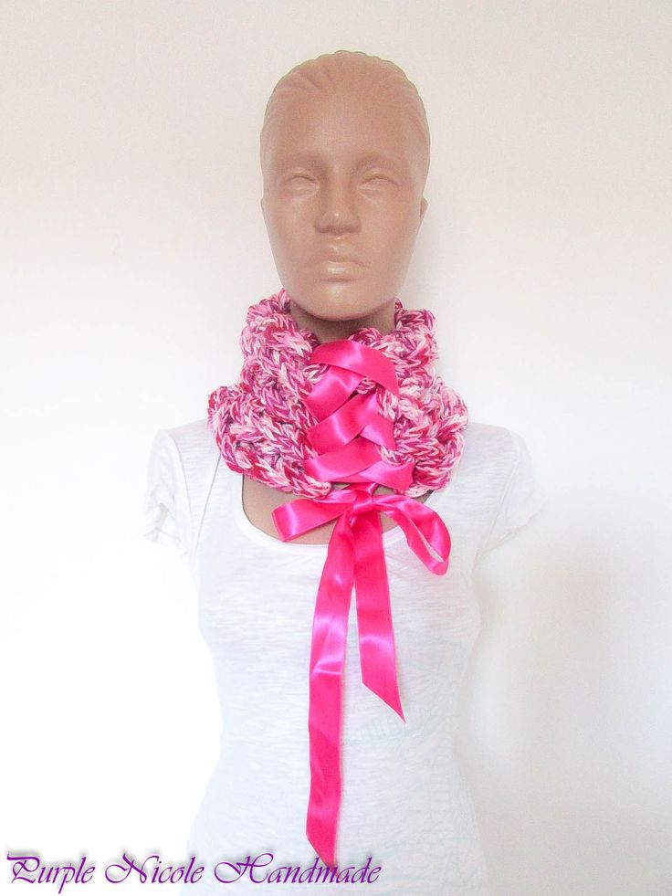 Pinkish Victoria - Handmade Elegant Victorian Inspired Neckwarmer by Purple Nicole (Nicole Cea Mov), finger crocheted tubes, then braided and tied with a luscious satin ribbon.