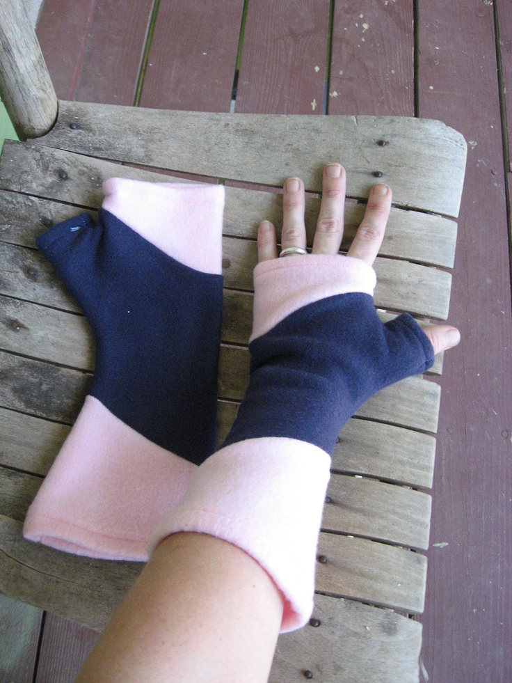 Pink and Navy Blue Polar Fleece Fingerless Gloves / Arm Warmers.  via Etsy.