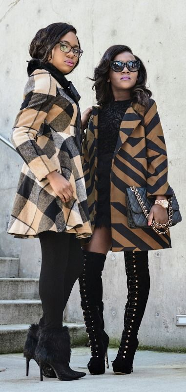 Two fashion bloggers share their cold weather style in booties, thigh high boots, and patterned coats. Visit the blog for more. Spring fashion | Alaska fashion | Bootie outfit | Black blogger