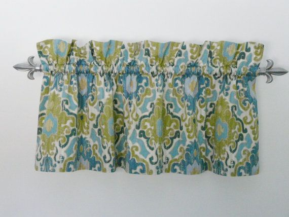 Olive Green Blue Floral Curtain Window by PaisleyLadyBoutique, $55.00