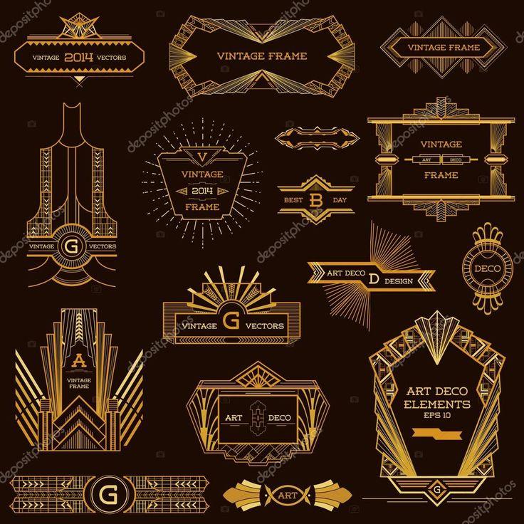 Art Deco Vintage frame ed elementi di Design - in vettoriale