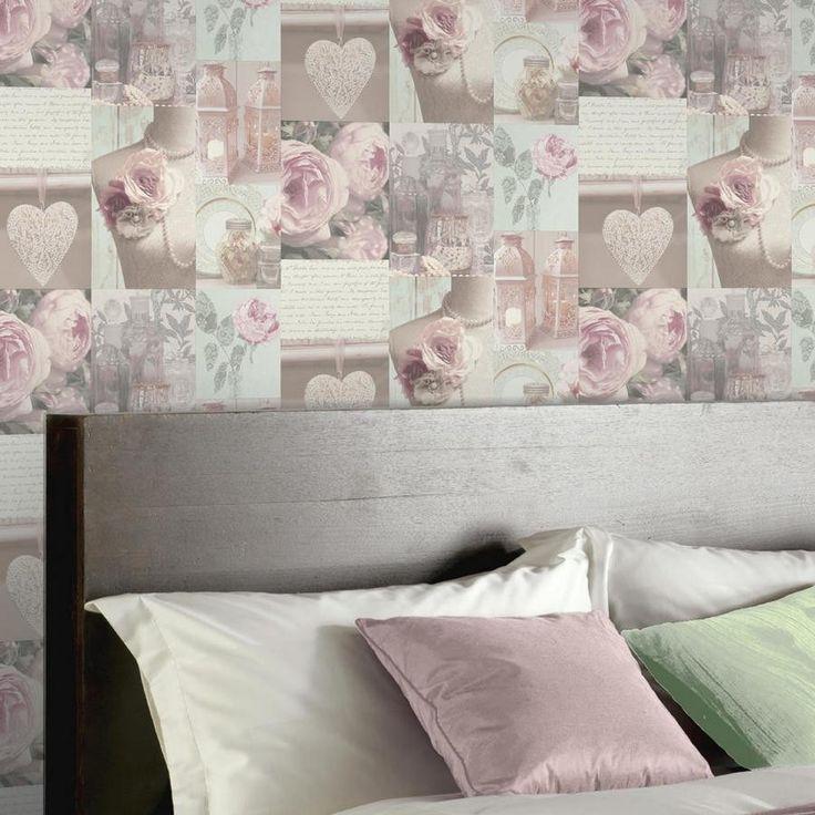 Papel pintado collage vintage con flores románticas