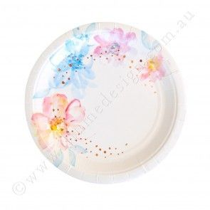 Let's Party With Balloons - Floral Snack Paper Plates   Illume Design, $11.00 (http://www.letspartywithballoons.com.au/floral-snack-paper-plates-illume-design/)