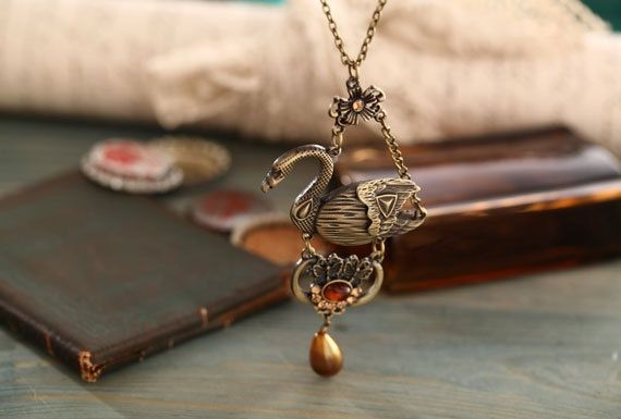 Graceful Swan necklace-antique brass swan necklace with pearl drop-long necklace from Picsity.com