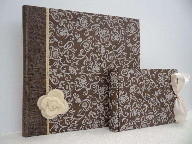 Album in carta lokta. Rosa bianca in feltro. Album piccolo per genitori abbinato
