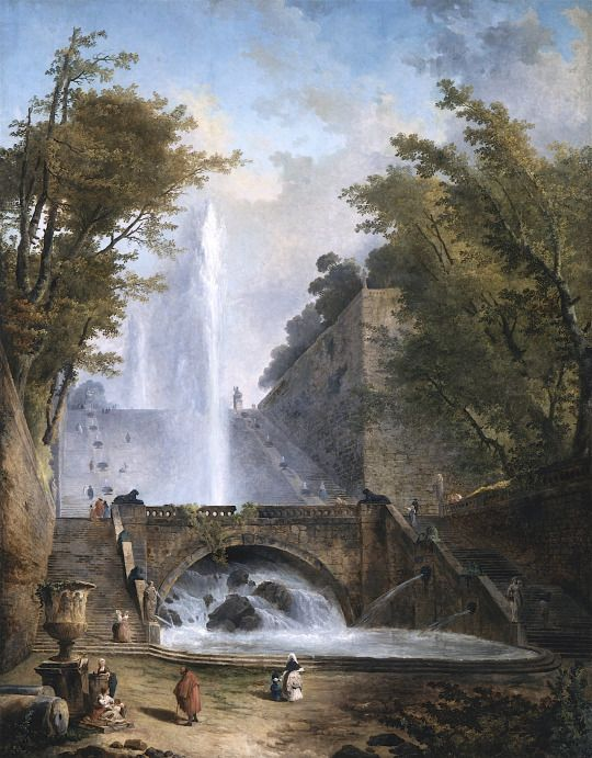 Stair and Fountain in the Park of a Roman Villa  Hubert Robert, c. 1770