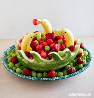 Banana Dolphins in Watermelon Waves Fruit Bowl...what a fun idea for Summer! These are the BEST Watermelon Ideas!
