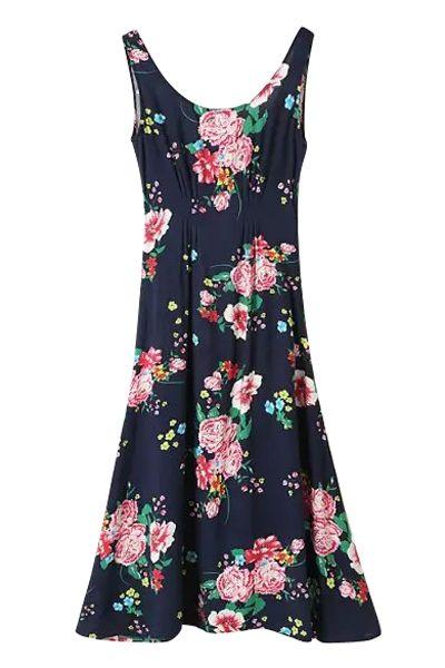 Scoop Neck Floral Print Sleeveless Maxi Dress