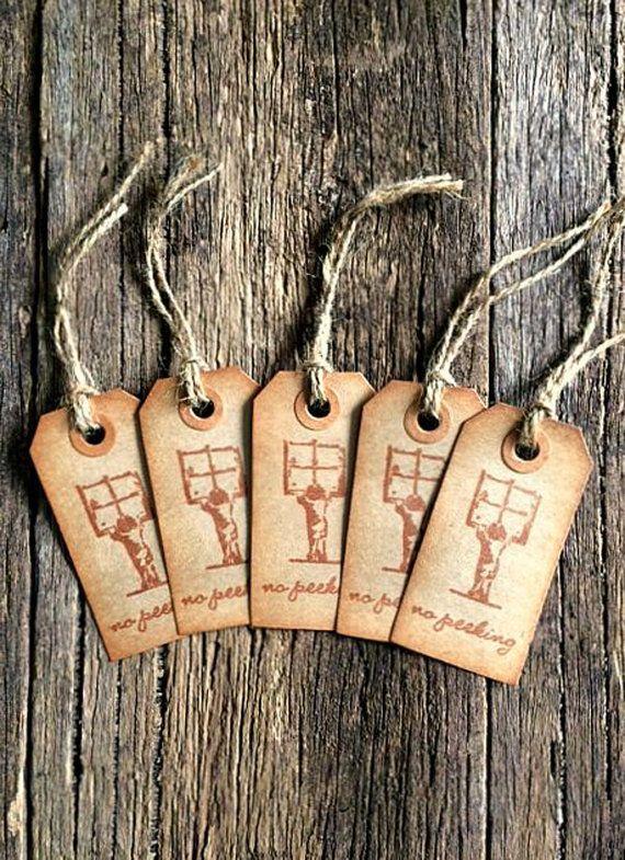 Christmas Gift tags No peeking Rustic tags Hang by CraftingEmotion