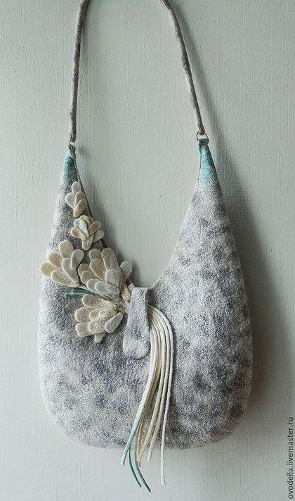 Женские сумки ручной работы. сумка валяная Прохладный ручеек. Элла Пахомова. Ярмарка Мастеров. Серая сумка,…