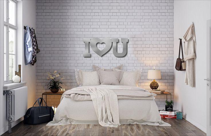 I Love You Metal Wall Art, Heart Wall Decor, Word Art, Industrial Wall Art, Large Metal Wall Art, 3D Wall Sculpture, Silver Wall Decor by ArteAndMetal on Etsy