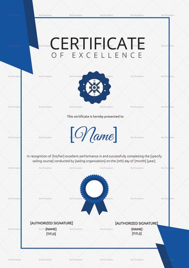 Sailing Excellence Certificate Template  $9.99  Formats Included : MS Word, Photoshop  File Size : 8.26x11.69 Inchs #Certificates #Certificatedesigns #Excellencecertificates