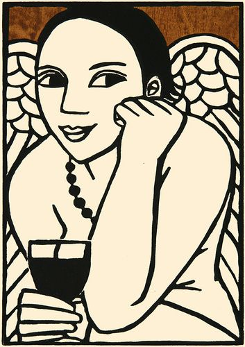 Angel with Merlot by Anita Klein