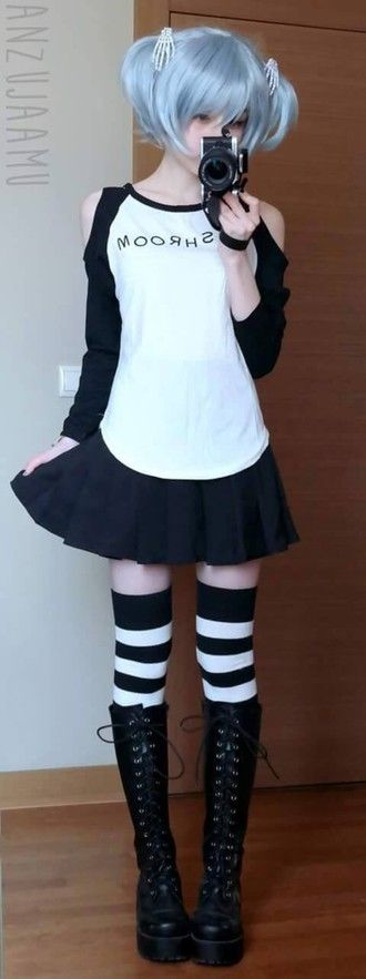 shirt harajuku pastel goth shoes