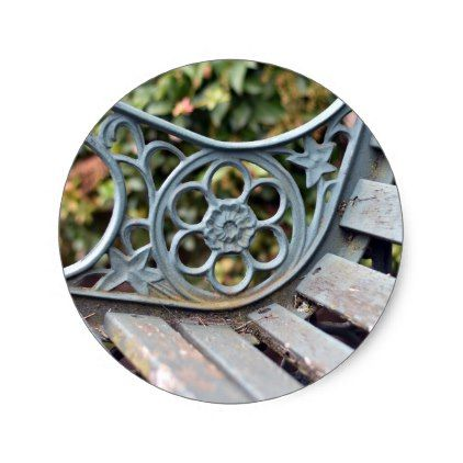 Vintage Bench Green Rust Old Wood Rustic Country Classic Round Sticker - rustic country gifts style ideas diy