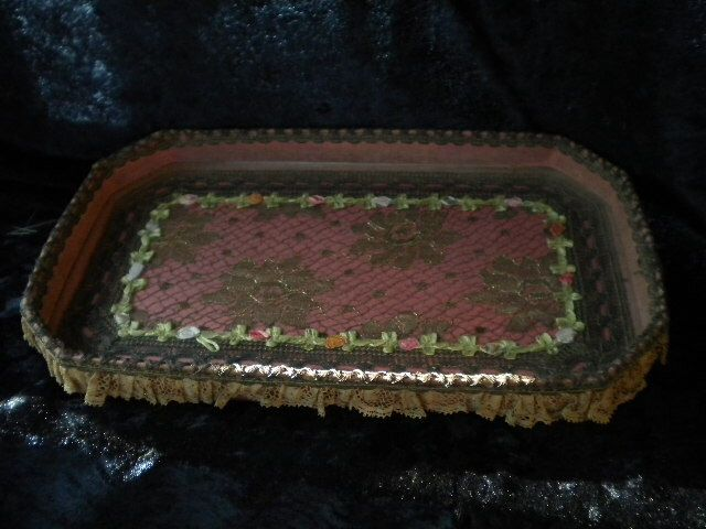 X Ribbonwork Victorian Dresser Tray with glass (FF062115-06) by FrenchFolly on Etsy https://www.etsy.com/listing/238011942/x-ribbonwork-victorian-dresser-tray-with