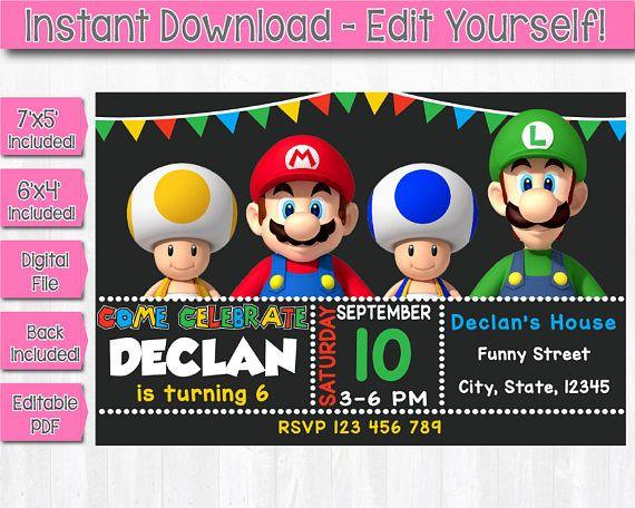 Instant Download Mario Bros Invitation Editable Mario Bros