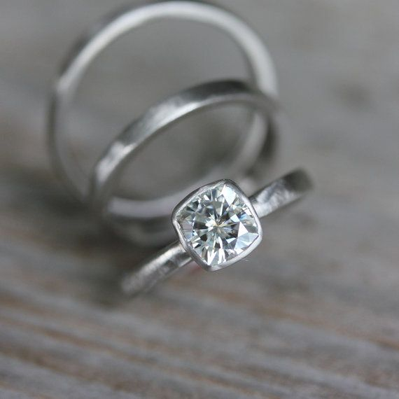 Moissanite White Gold Engagement Ring, 14k Palladium White Gold, Solitaire Cushion Cut Wedding Ring, Eco Friendly, Conflict Free