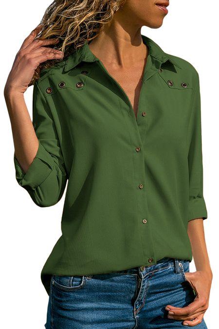 Fashion Dark Green Stylish Button Detail Long Sleeve Blouse