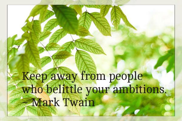 Keep away from people who belittle your ambitions - Oliver Wendell Holmes