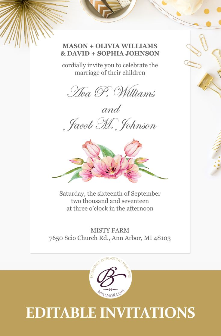 46 best wedding invitation templates images on pinterest for Sample wedding invitations pdf