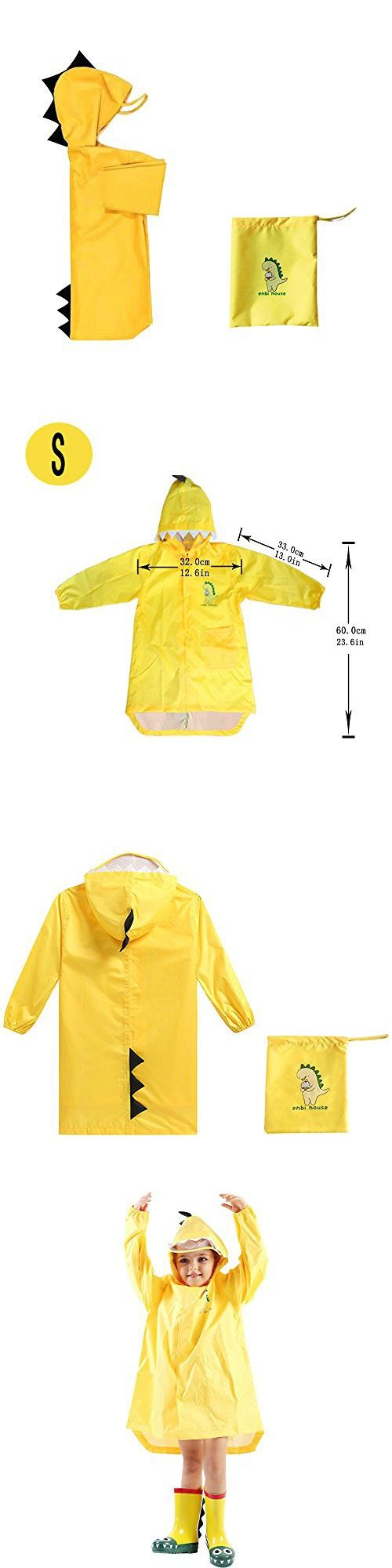 Doubmall Raincoat for Kids Rain Jacket Age 2-5 Cute Dinosaur Shaped Child's Funny Lightweight Outdoor Cartoon Rain Wear Slicker for Boys for Girls[S Size]