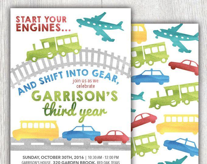 Printable transportation birthday invitation - Planes, trains and automobiles - Boy birthday invitation - Car birthday party - Customizable
