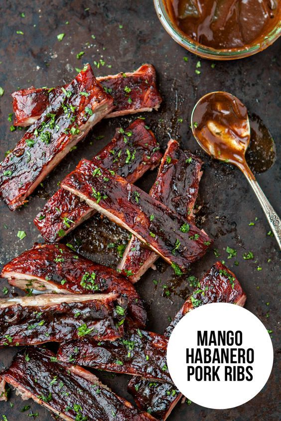 Mango Habanero Pork Ribs are full of flavor thanks and perfect for your Memorial Day BBQ or your next summertime picnic. Recipe on @goodlifeeats www.goodlifeeats.com @KCMBBQ @walmart #ad