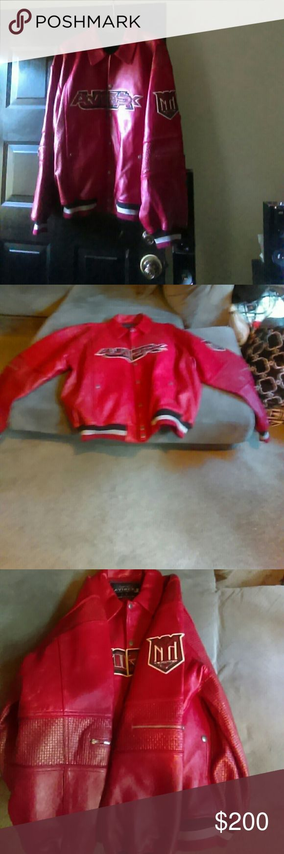 Red Men's Authentic Avirex Jacket A red and black leather jacket only worn a handful of times. Price is firm please no offer this is my Lowest Avirex Jackets & Coats