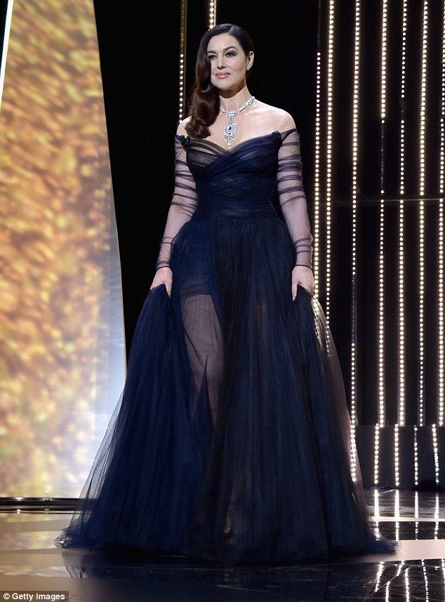 Monica Bellucci looked absolutely stunning in an off-the-shoulder number which was custom-made for her by French design house Dior.