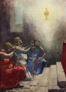 A book illustration from 1918 of Percival, one of King Arthur's Knights, finding the Holy Grail. --- Image by © PoodlesRock/Corbis