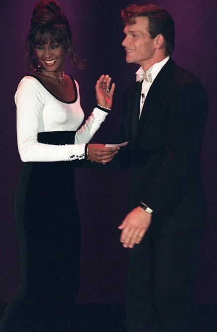 Whitney Houston and Patrick Swayze at the Sixth World Music Awards. #Whitney Houston, #tamirfilms