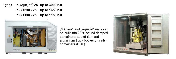 Aquajet units can be built into 20ft. sound damped containers, sound damped aluminum truck bodies or trailer containers (BDF).  There is a range of optional extras available which includes pump head lifting device, heating systems, water tank and fuel tanks.