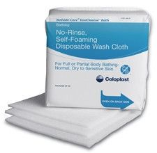 Rinse free, self foaming, cleaning and moisturizing disposable washcloth from PRO2Medical.com $72.50 Case/300ea  Save 10% Coupon Features -No-rinse, self-foaming, gentle, disposable washcloth used for all-body cleansing. -Non-irritating, non-sensitizing, pH-balanced, latex- and preservative-free -May be used for bedside bathing, am/pm cleanup, partial baths, and other skin cleansing needs