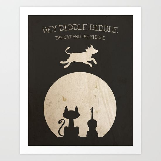 Perfect for a baby shower or to decorate a babies room in a vintage theme.<br/> <br/> Hey Diddle Diddle, cow, cat, moon, fiddle, nursery rhyme, children.