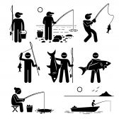 Vector People Stick Man Fishing Big And Small Fish At River Lake Ice And Sea With Small Boat For Recreation Fish Man Boat Drawing Fish Drawings