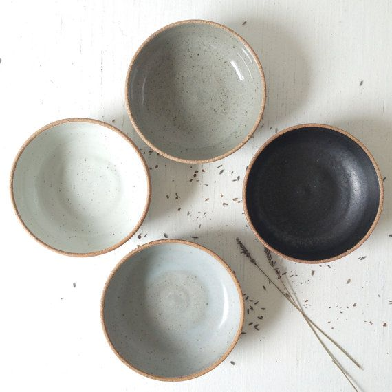 Handmade Pottery Soup Bowls, Stoneware Ceramic Bowls, Salad bowls, Blue Gray Bowl, Black Bowl, Green Bowl, Wedding gift, Rustic Dishes