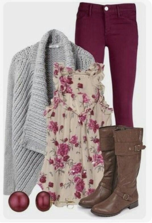 the floral top adds a little femininity.