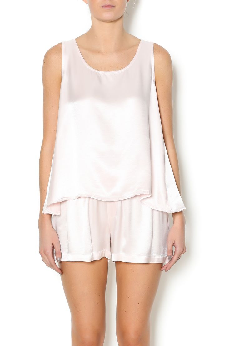 Open back, satin cami in blush pink. Open Back Cami by PJ Harlow. Clothing - Lingerie & Sleepwear - Sleepwear Ottawa, Canada