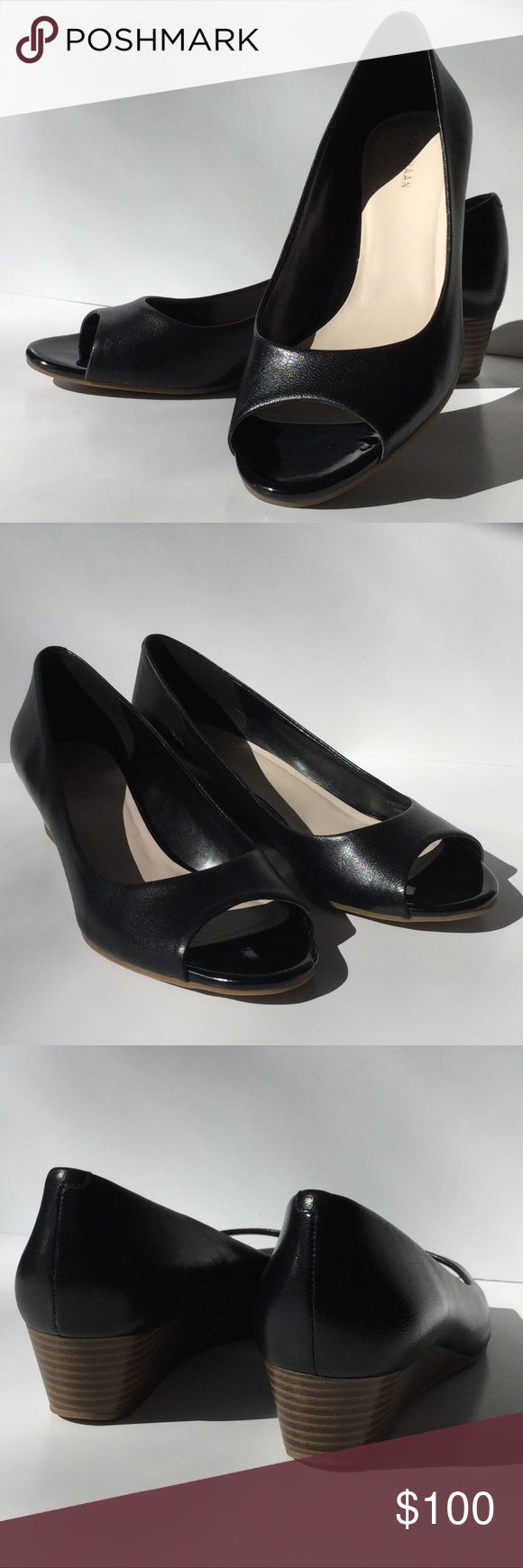 Cole Haan Leather Stacked Heel Peep Toe Wedges 8 Cole Haan black Leather Peep Toe Wedges with a Stacked Heel. Size 8 B. New without box. See pictures. Cole Haan Shoes Wedges