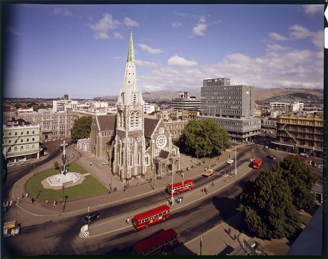 We had an exhibtion recently of Gladys work at The National Library of New Zealand. She only became a photographer in her 40s. I belive she is 105 years old. Old Elevated view of Cathedral Square, Christchurch, taken 1960s by Gladys M Goodall