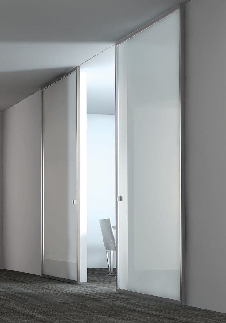 White lacquer glass panel stainless steel door - Interior sliding doors with glass ...