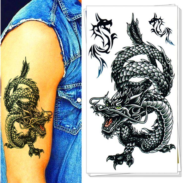 25 stile Uomo Tatuaggio Temporaneo Body Art, orientale Drago Disegni, Flash Autoadesivo Del Tatuaggio Mantenere 3-5 giorni Impermeabile 17*10 cm