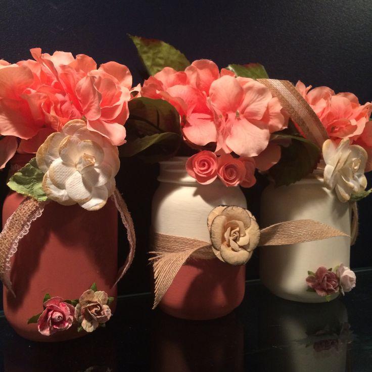 hydrangea and mason jar vases, rustic mason jar floral, hydrangea floral arrangement, rustic mason jars, mason jar set, wedding centerpiece by Bedotted on Etsy