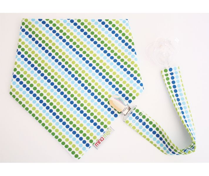 Mina Moo Bandana Bib and Dummy Clip - Royal Dot Stripe
