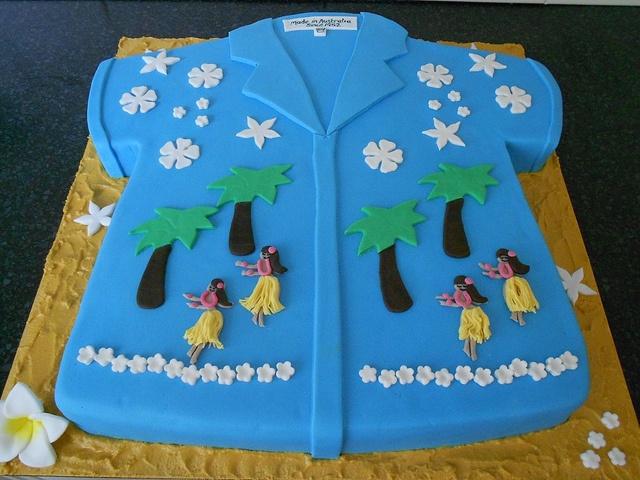 4x chocolate mud with ganache and fondant - Hawaiian Shirt Cake by mylittlemod, via Flickr