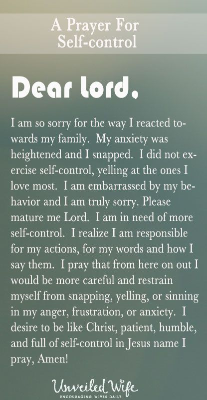 Prayer Of The Day - More Self-Control